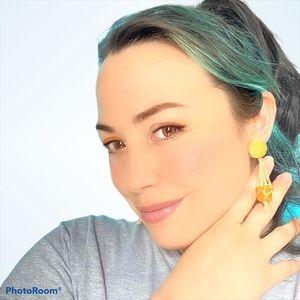 Handmade Succulent plant/polka dot pierced earring